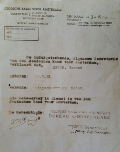 Bernie's brief van de Joodse Raad