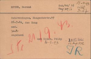 Kaart Bernie uit het archief van de  Joodse Raad
